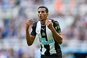 Isaac Hayden (#14) of Newcastle United argues with the linesman after he believes he was fouled in the penalty area during the Premier League match between Newcastle United and Watford at St. James's Park, Newcastle, England on 31 August 2019.