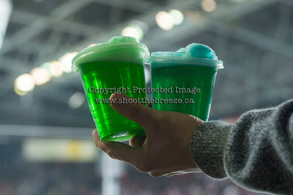 KELOWNA, CANADA - MARCH 18:  Green beer is served to Kelowna Rockets' fans on St. Patricks Day against the Vancouver Giants on March 1, 2018 at Prospera Place in Kelowna, British Columbia, Canada.  (Photo by Marissa Baecker/Shoot the Breeze)  *** Local Caption ***