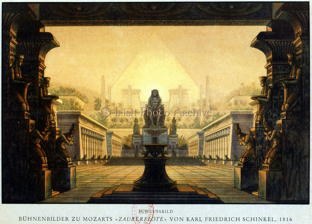 Temple of Isis and Osiris where Sarastro High Priest. 'Die Zauberflote' (The Magic Flute) by Wolfgang Amadeus Mozart (1756-1791).  Plot has overtones of Freemasonry. The Queen of the Night is said to be based on Empress Maria Theresa.  Decor by Karl Friedrich Schinkel, 1816. Biblioteque de l'Opera, Paris.