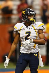 Oct 21, 2011; Syracuse NY, USA;  West Virginia Mountaineers wide receiver Brad Starks (2) before a play against the Syracuse Orange during the fourth quarter at the Carrier Dome.  Syracuse defeated West Virginia 49-23. Mandatory Credit: Jason O. Watson-US PRESSWIRE