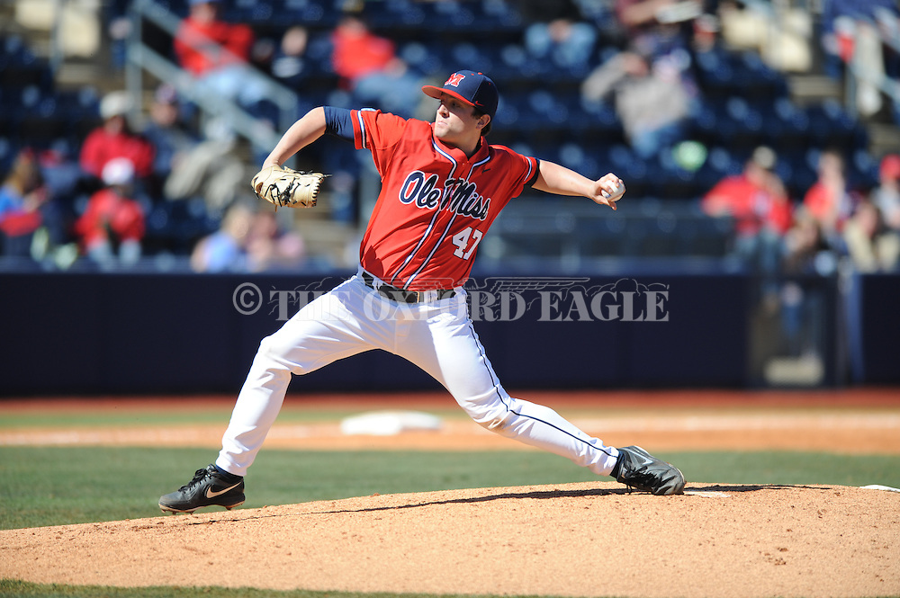 Ole Miss' Christian Trent (47) pitches vs. Stetson at Oxford-University Stadium in Oxford, Miss. on Saturday, March 7, 2015. Ole Miss won 8-3 in game 1 of a doubleheader to improve to 7-5.