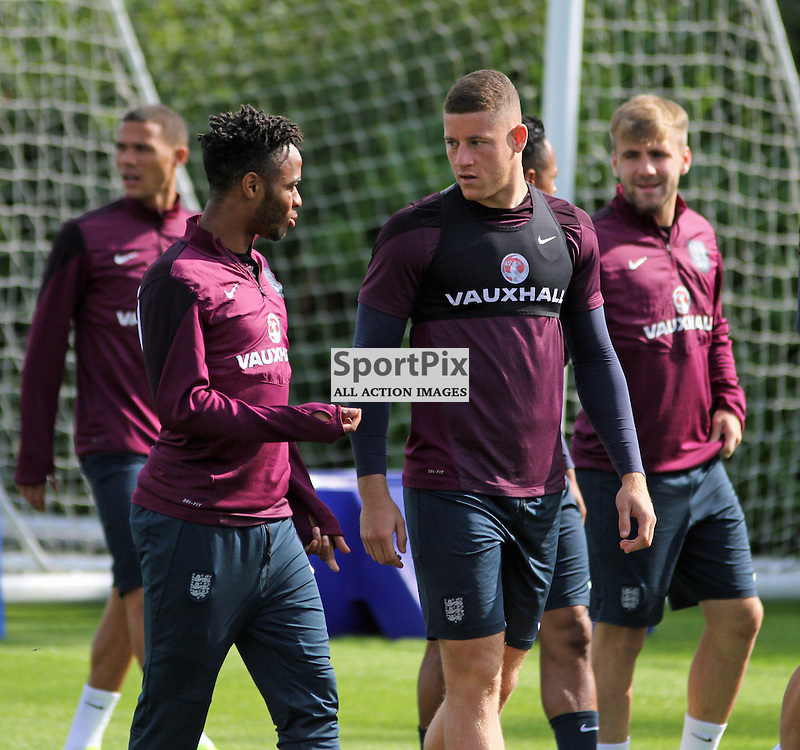 Raheem Sterling and Ross Barkley During England Training on Monday the 7th September 2015.