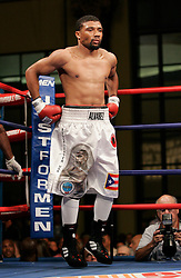 August 31, 2007; Atlantic City, NJ, USA; Shamone Alvarez during his 12 round NABO Welterweight Championship bout against Germaine Sanders at Boardwalk Hall in Atlantic City, NJ.