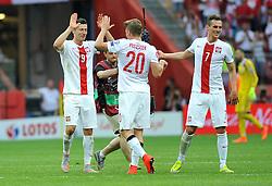 13.06.2015, Nationalstadion, Warschau, POL, UEFA Euro 2016 Qualifikation, Polen vs Greorgien, Gruppe D, im Bild ROBERT LEWANDOWSKI RADOSC PO WYGRANYM SPOTKANIU, LUKASZ PISZCZEK, ARKADIUSZ MILIK // during the UEFA EURO 2016 qualifier group D match between Poland and Greorgia at the Nationalstadion in Warschau, Poland on 2015/06/13. EXPA Pictures © 2015, PhotoCredit: EXPA/ Pixsell/ RAFAL RUSEK<br /> <br /> *****ATTENTION - for AUT, SLO, SUI, SWE, ITA, FRA only*****