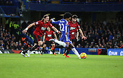 Chelsea attacker Willian with a chance during the Barclays Premier League match between Chelsea and West Bromwich Albion at Stamford Bridge, London, England on 13 January 2016. Photo by Matthew Redman.