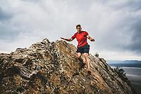 Robert Hunter picks his way up the ridge on his way to the summit of Frary Peak, Antelope Island, Great Salt Lake, Utah.