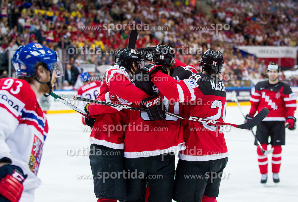 Players of Canada celebrate after scoring second goal during Ice Hockey match between Canada and Czech Republic at Semifinals of 2015 IIHF World Championship, on May 16, 2015 in O2 Arena, Prague, Czech Republic. Photo by Vid Ponikvar / Sportida