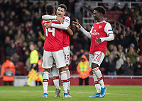 Football - 2019 / 2020 UEFA Europa League - Group F:Arsenal vs. Eintracht Frankfurt<br /> <br /> Pierre-Emerick Aubameyang (Arsenal FC) celebrates with Gabriel Martinelli (Arsenal FC) after giving Arsenal the lead just before half time at The Emirates.<br /> <br /> COLORSPORT/DANIEL BEARHAM