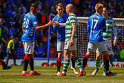Celtic Captain Scott Brown shakes hands with Ryan Jack of Rangers Jon Flanagan & Alfredo Morelos of Rangers FC during the Ladbrokes Scottish Premiership match between Rangers and Celtic at Ibrox, Glasgow, Scotland on 12 May 2019.