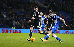 Jamie Murphy of Brighton and Hove Albion scores to make it 3-0 - Mandatory byline: Paul Terry/JMP - 05/02/2016 - FOOTBALL - Falmer Stadium - Brighton, England - Brighton v Brentford - Sky Bet Championship