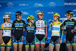 May 18, 2018 - South Lake Tahoe, California, U.S - Friday, May 18, 2018.Members of Team TIBCO - Silicon Valley Bank (USA) are introduced prior to Stage 2 of the Amgen Tour of California Women's Race empowered with SRAM, which starts and finishes in South Lake Tahoe, California, near Heavenly Ski Resort. (Credit Image: © Tracy Barbutes via ZUMA Wire)