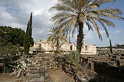 Israel, Sea of Galilee, Capernaum Ruins of the old synagogue uncovered on site (forth Century CE)