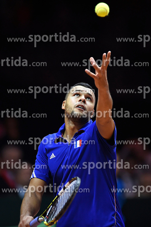 21.11.2014, Stade Pierre Mauroy, Lille, FRA, Davis Cup Finale, Frankreich vs Schweiz, im Bild Jo Wilfried Tsonga (FRA) // during the Davis Cup Final between France and Switzerland at the Stade Pierre Mauroy in Lille, France on 2014/11/21. EXPA Pictures &copy; 2014, PhotoCredit: EXPA/ Freshfocus/ Valeriano Di Domenico<br /> <br /> *****ATTENTION - for AUT, SLO, CRO, SRB, BIH, MAZ only*****