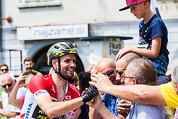 Luka Mezgec (SLO) of Mitchelton - Scott with fans after 5th Stage of 26th Tour of Slovenia 2019 cycling race between Trebnje and Novo mesto (167,5 km), on June 23, 2019 in Slovenia. . Photo by Peter Podobnik / Sportida