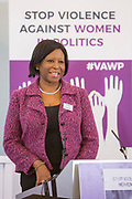 Moderator: Tina Fahm, Commissioner at Independent Commission for Aid Impact & Former WFD Governor Session 6: THE CIVIL SOCIETY PERSPECTIVE ON VAW IN POLITICS 'Violence Against Women in Politics' Conference, organised by all the UK political parties in partnership with the Westminster Foundation for Democracy, 19th and 20th of March 2018, central London, UK.  (Please credit any image use with: © Andy Aitchison / WFD