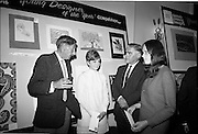"28/06/1967<br /> 06/28/1967<br /> 28 June 1967<br /> Presentation of prizes at Navan Carpets ""Young Designer of the Year"" reception in the Royal Hibernian Hotel, Dublin. Left -right are: Mr. Michael Bourke, Principal of the National College of Art; Miss Bronwen Casson, Sandymount, Dublin; Mr. Allan Mallinson, Managing Director, Navan Carpets Ltd. and Miss Claire O'laughlin, Goatstown Road, Dublin, pictured in front of the two ladies designs."
