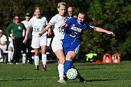 Rice's Grace Miller (10) and Milton's Dallas Brodhead (15) battle for the ball during the girls soccer game between the Milton Yellowjackets and the Rice Green Knights at Rice Memorial High School on Saturday afternoon October 3, 2015 in South Burlington. (BRIAN JENKINS/ for the FREE PRESS)