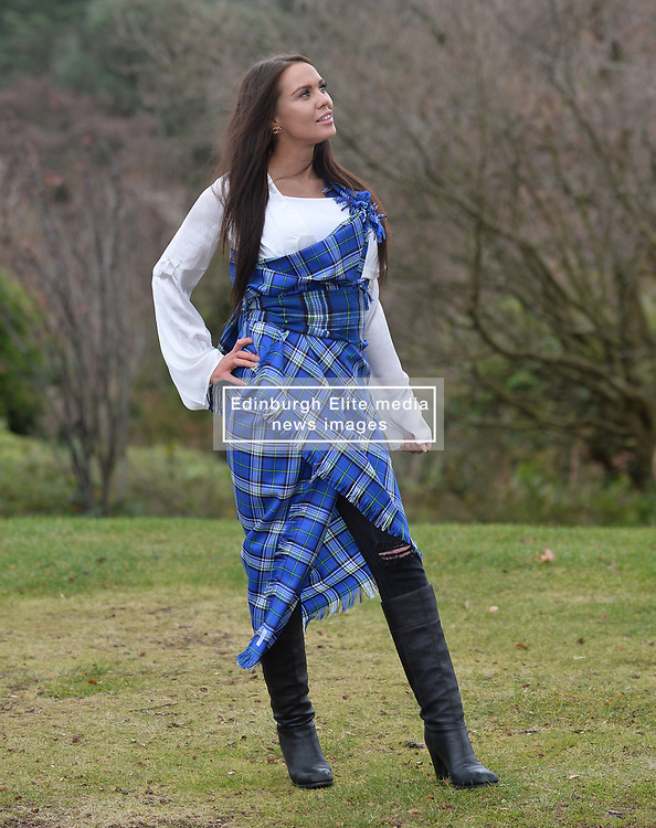 Mental Health nurse and Miss Great Britain finalist Louisa Thomson models the new tartan for mental health charity Support in Mind, the first tartan in the world specially designed for metal health awareness.<br /> <br /> (c) Dave Johnston / Eem