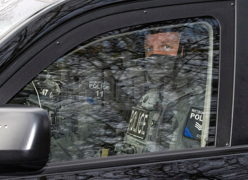 © Licensed to London News Pictures. 03/12/2019. London, UK. Counter Terrorist Specialist Firearms Officers are seen in a motorcade leaving Winfield House in Regents Park, London, where President Donald Trump is staying during the NATO leaders summit. Worlds leaders are due to attend a series of events over a two day NATO summit which will mark the 70th anniversary of the alliance of nations. Photo credit: Ben Cawthra/LNP