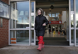 © Under licence to London News Pictures. 27/01/2016. Karen Routh after dropping her daughter off at Skerne Park Acadamy in Darlington in her pyjamas. The head teacher sent out a letter to asking parents not to wear pyjamas to drop their children off at school. Photo Credit: Stuart Boulton/LNP