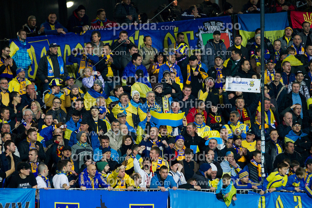 Fans of Ukraine during the UEFA EURO 2016 Play-off for Final Tournament, Second leg between Slovenia and Ukraine, on November 17, 2015 in Stadium Ljudski vrt, Maribor, Slovenia. Photo by Urban Urbanc / Sportida