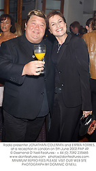 Radio presenter JONATHAN COLEMAN and EMMA FORBES, at a reception in London on 5th June 2002.	PAP 49