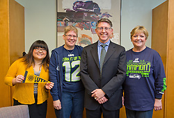 Seahawks Blue Friday at PLU on Friday, Jan. 30, 2015. (Photo/John Froschauer)