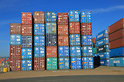 Containers stacked high on dockside, Port of Felixstowe, Suffolk, England, UK following bankruptcy of Hanjin shipping company in 2016