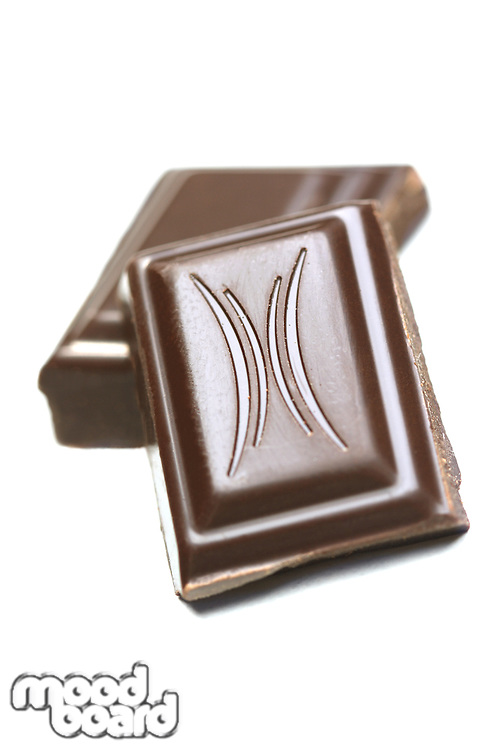 Close up of chocolate on white background
