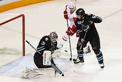 May 1, 2011; San Jose, CA, USA; San Jose Sharks goalie Antti Niemi (31) makes a save against the Detroit Red Wings during the first period of game two of the western conference semifinals of the 2011 Stanley Cup playoffs at HP Pavilion. Mandatory Credit: Jason O. Watson / US PRESSWIRE