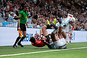 Josevata Taliga Rokocoko (Racing 92) cared out FRANCOIS TRINH DUC (Rugby Club Toulonnais) at line out, Patrick Lambie (Racing 92) during the French Championship Top 14 Rugby Union match between Racing 92 and RC Toulon on April 8, 2018 at U Arena in Nanterre, France - Photo Stephane Allaman / ProSportsImages / DPPI