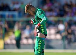 NAPLES, ITALY - Wednesday, October 3, 2018: Napoli's goalkeeper Alessandro D'Andrea adjusts his shirt and shorts during the UEFA Youth League Group C match between S.S.C. Napoli and Liverpool FC at Stadio Comunale di Frattamaggiore. (Pic by David Rawcliffe/Propaganda)