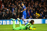 Picture by Daniel Chesterton/Focus Images Ltd +44 7966 018899<br /> 18/09/2013<br /> Oscar of Chelsea celebrates after scoring Chelsea's first goal during the UEFA Champions League match at Stamford Bridge, London.