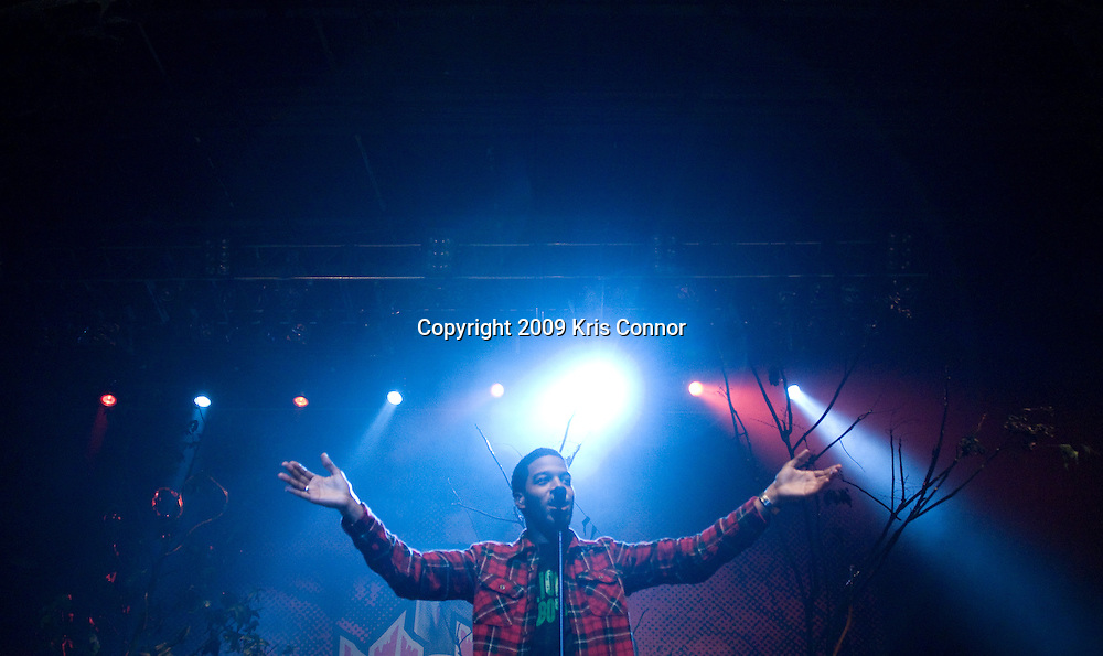 "Columbia - OCT 23: Rapper Kid Cudi performs during the MTV's ""Ulalume"" Halloween Music Festival at Merriweather Post Pavillion on October 23, 2009 in Columbia, Md. The concert was filmed as a part of an upcoming special that will air on MTV on October 30, 2009."