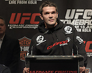 """COLOGNE, GERMANY, JUNE 11, 2009: Peter Sobotta addresses the media from the podium during the pre-fight press conference for """"UFC 99: The Comeback"""" inside the Hyatt Regency Hotel in Cologne, Germany on June 11, 2009."""