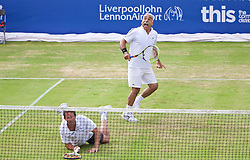 LIVERPOOL, ENGLAND - Sunday, June 21, 2015: Mansour Bahrami (IRN) and Jeremy Bates (GBR) during Day 4 of the Liverpool Hope University International Tennis Tournament at Liverpool Cricket Club. (Pic by David Rawcliffe/Propaganda)