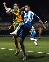 Photo: Ashley Pickering/Sportsbeat Images.<br /> Colchester United v Norwich City. Coca Cola Championship. 15/12/2007.<br /> Lee Croft of Norwich (L) tackles Kevin McLeod of Colchester for the ball