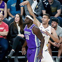 08 October 2017: Los Angeles Lakers center Brook Lopez (11) takes a jump shot over Sacramento Kings forward Zach Randolph (50) during the LA Lakers 75-69 victory over the Sacramento Kings, at the T-Mobile Arena, Las Vegas, Nevada, USA.