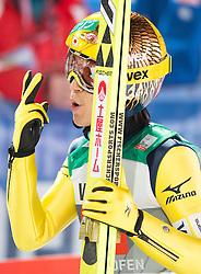 06.01.2015, Paul Ausserleitner Schanze, Bischofshofen, AUT, FIS Ski Sprung Weltcup, 63. Vierschanzentournee, Finale, im Bild Noriaki Kasai (JPN) // Noriaki Kasai of Japan reacts after his first Final Jump of 63rd Four Hills Tournament of FIS Ski Jumping World Cup at the Paul Ausserleitner Schanze, Bischofshofen, Austria on 2015/01/06. EXPA Pictures © 2015, PhotoCredit: EXPA/ Johann Groder