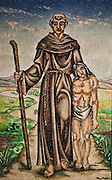 Blessed Junipero Serra is depicted with a California Indian in a painting at Mission San Fernando Rey de España in Mission Hills, Calif. Photo taken May 14, 2015. © 2015 Nancy Wiechec