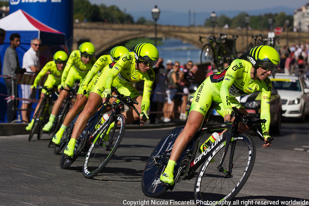 UCI World Championship 2013 women's cycling race passes through the city streets of Florence Tuscany