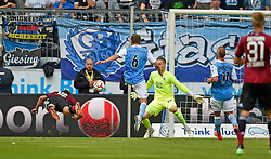 Football: Germany, 2. Bundesliga, TSV 1860 Muenchen - 1.FC Nuernberg, Muenchen - 17.05.2015,<br /> Niklas Stark (li, Nuernberg), Kopfball zum 0:1<br /> <br /> &copy; pixathlon<br /> <br /> +++ NED out !!! +++