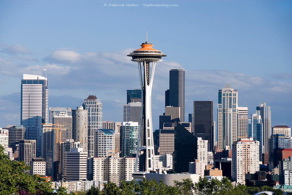Space Needle and downtown skyscrapers from Queen Anne hill, Seattle, USA. Repainted orange to celebrate 50th Anniversary 2012
