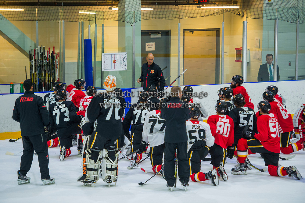 PENTICTON, CANADA - SEPTEMBER 9: Calgary Flames' head coach Ryan Huska goes through drills during morning skate on September 9, 2017 at the South Okanagan Event Centre in Penticton, British Columbia, Canada.  (Photo by Marissa Baecker/Shoot the Breeze)  *** Local Caption ***