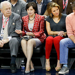 Dec 30, 2013; New Orleans, LA, USA; New Orleans Pelicans and New Orleans Saintss owner Tom Benson sits with his wife Gayle Benson and Saints head coach Sean Payton along with his girlfriend Skylene Montgomery during the first half of a game at the New Orleans Arena. The Pelicans defeated the Trail Blazers 110-108. Mandatory Credit: Derick E. Hingle-USA TODAY Sports