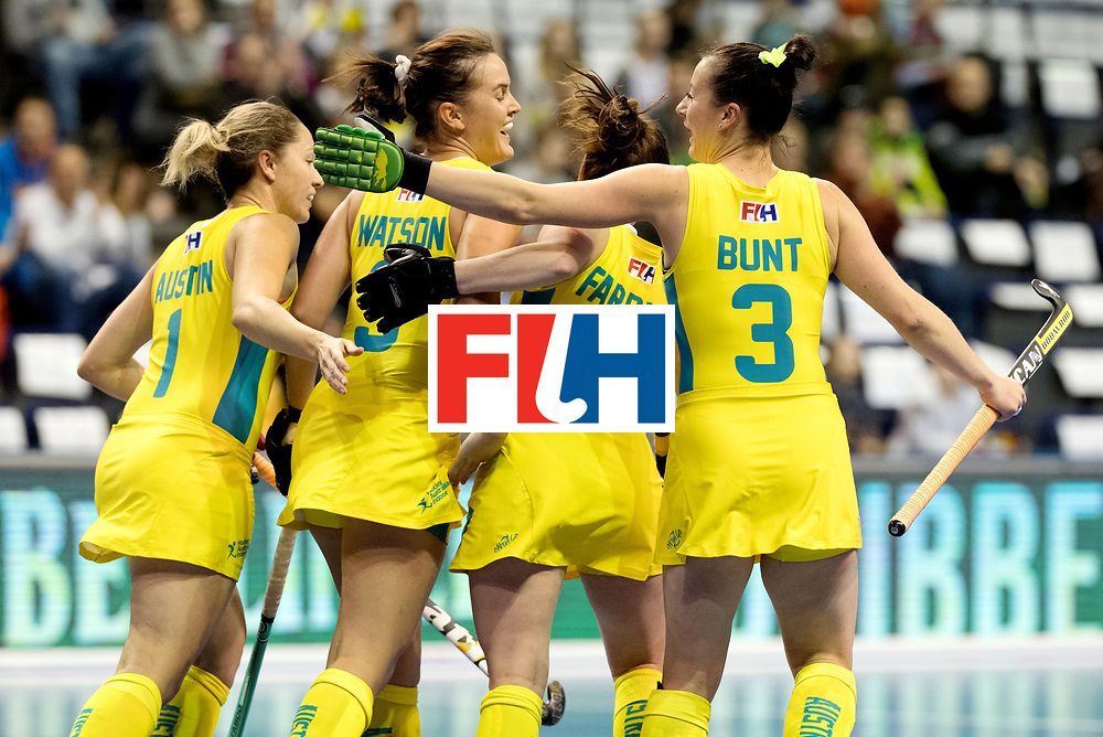 BERLIN - Indoor Hockey World Cup<br /> Quarterfinal 1: Belarus - Australia<br /> foto: Australia celebrate.<br /> WORLDSPORTPICS COPYRIGHT FRANK UIJLENBROEK