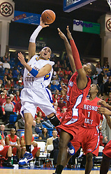 February 27, 2010; San Jose, CA, USA;  San Jose State Spartans guard Adrian Oliver (2) shoots over Fresno State Bulldogs forward Sylvester Seay (30) during the first half at The Event Center.  San Jose State defeated Fresno State 72-45.
