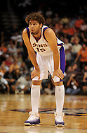 Nov. 5 2010; Phoenix, AZ, USA; Phoenix Suns center Robin Lopez (15) reacts on the court against the Memphis Grizzlies at the US Airways Center. The Suns defeated the Memphis Grizzlies in double over time 123 - 118.  Mandatory Credit: Jennifer Stewart-US PRESSWIRE.