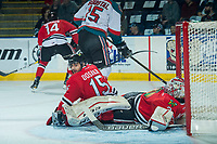 KELOWNA, CANADA - APRIL 8: Shaun Dosanjh #15 collides with Cole Kehler #31 of the Portland Winterhawks during first period against the Kelowna Rockets on April 8, 2017 at Prospera Place in Kelowna, British Columbia, Canada.  (Photo by Marissa Baecker/Shoot the Breeze)  *** Local Caption ***