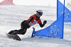 ZHANGJIAKOU, Feb. 24, 2019  Selina Joerg of Germany competes during the women's Parallel Slalom final of FIS Snowboard World Cup 2018-2019 in Zhangjiakou of north China's Hebei Province, on Feb. 24, 2019. (Credit Image: © Xinhua via ZUMA Wire)